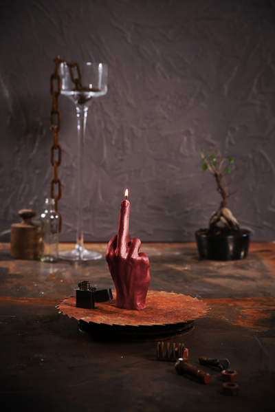 Hand candle - F You, Red