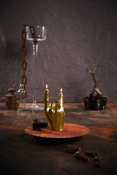 Hand candle - Rock n´Roll, Gold