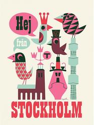 "Affisch Ingela Arrhenius ""Hej från Stockholm"" 50x70 cm"