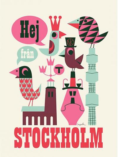 "Poster Ingela P Arrhenius ""Hej från Stockholm"" 50x70 cm"