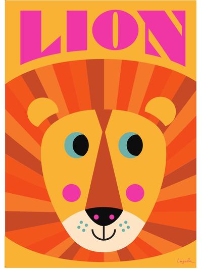 """Poster Ingela P Arrhenius """"Lion"""" orange 50x70 cm"""