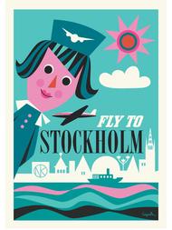 "Poster Ingela P Arrhenius ""Fly me to Stockholm"" 50x70 cm"