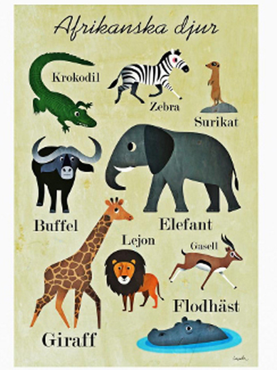 "Poster Ingela P Arrhenius ""Afrikanska djur"" 50x70 cm"