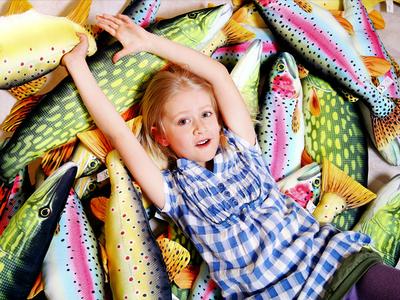 Fisk-kudde Gädda, stor 80 cm